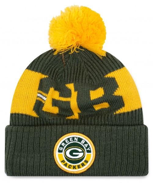 New Era - NFL Green Bay Packers On Field 2020 Sport Knit Bobble Beanie - Grün Vorderansicht