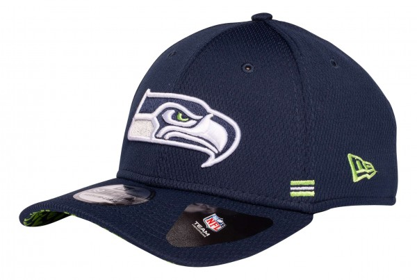 New Era - NFL Seattle Seahawks OnField 2020 Sideline Home 39Thirty Stretch Cap - Blau Ansicht vorne schräg links