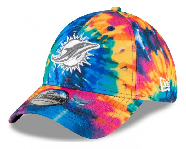 New Era - NFL Miami Dolphins 2020 Crucial Catch 39Thirty Stretch Cap - Mehrfarbig Anischt vorne schräg links