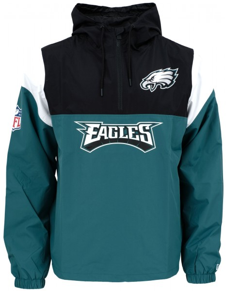 New Era - NFL Philadelphia Eagles Colour Block Windbreaker - Petrol-Schwarz-Weiß vorderansicht