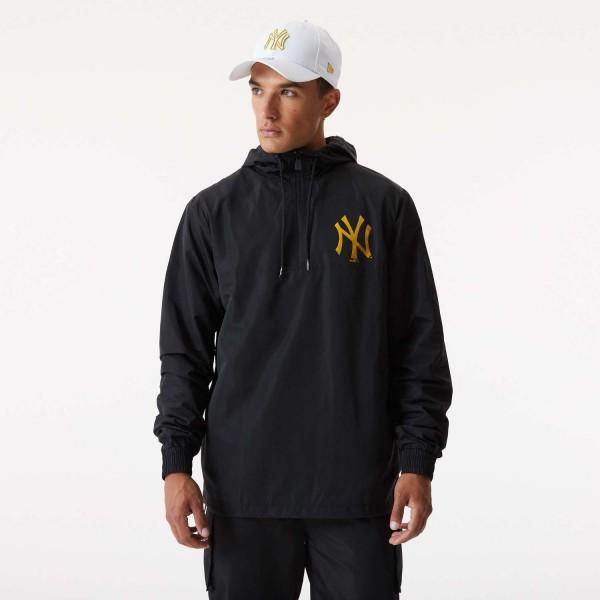 New Era - MLB New York Yankees Metallic Windbreaker Jacke - Schwarz Vorderansicht