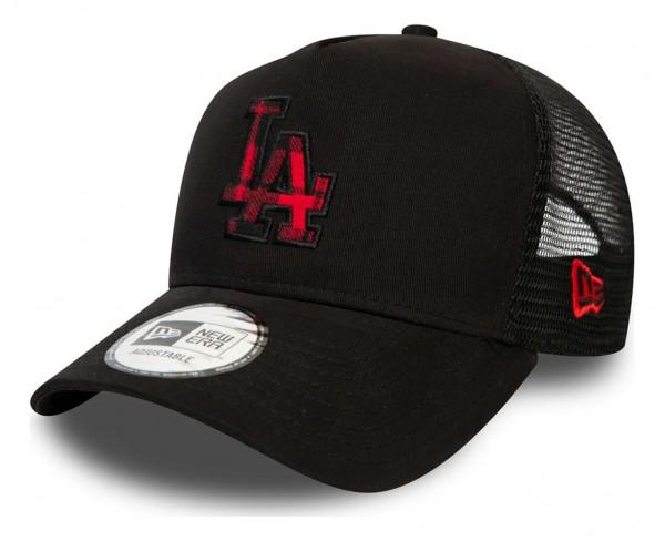 New Era - MLB Los Angeles Dodgers Check Infill Trucker Snapback Cap - Rot Ansicht vorne schräg links