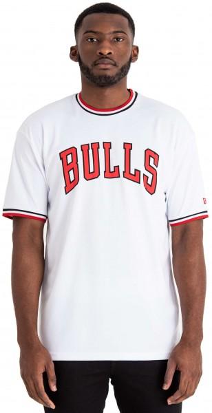 New Era - NBA Chicago Bulls Tipping Wordmark T-Shirt - Weiß Vorderansicht