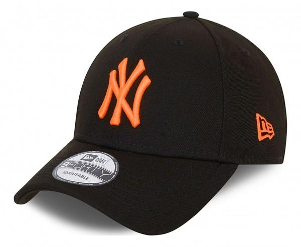 New Era - New York Yankees Neon Pack 9Forty Kids Strapback Cap - Schwarz Ansicht vorne schräg links