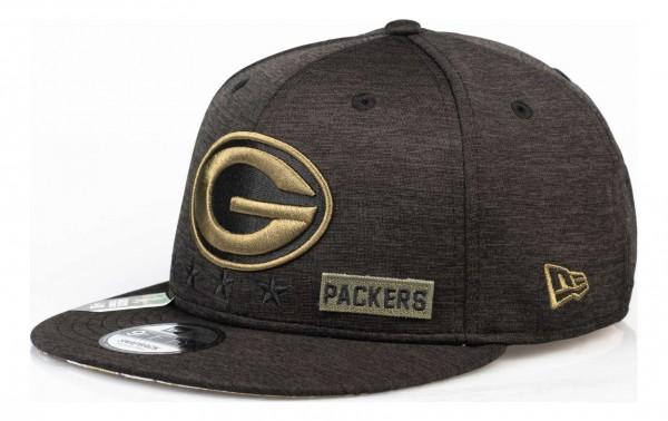 New Era - NFL Green Bay Packers 2020 Salute to Service 9Fifty Snapback Cap - Grau Ansicht vorne schräg links