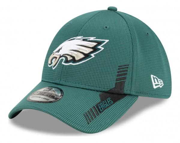 New Era - NFL Philadelphia Eagles 2021 Sideline Home 39Thirty Stretch Cap - Grün Ansicht vorne schräg links