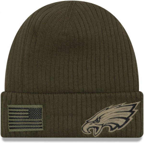 New Era - NFL Philadelphia Eagles On Field Salute to Service 2018 Knit Cuff Beanie - Olivgrün Ansicht vorderseite