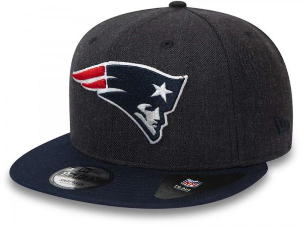 New Era - NFL New England Patriots Heather Crown 9Fifty Snapback Cap - Grau Ansicht vorne schräg links