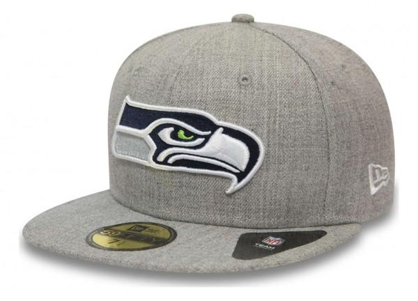 New Era - NFL Seattle Seahawks Heather 59Fifty Fitted Cap - Grau Ansicht vorne schräg links