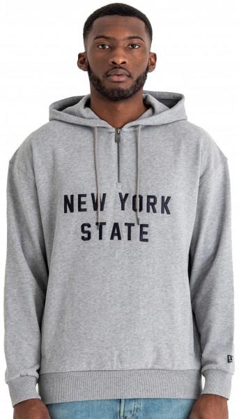 New Era - New York State Half Zip Hoodie - Grau Ansicht vorderseite