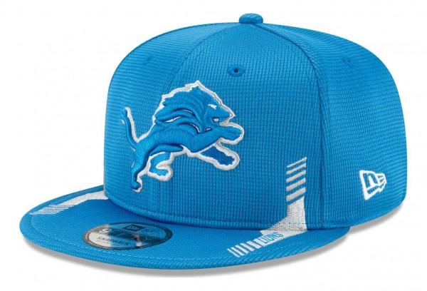New Era - NFL Detroit Lions 2021 Sideline Home 9Fifty Snapback Cap - Blau Ansicht vorne schräg links