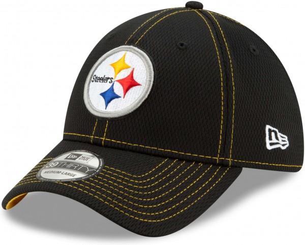 New Era - NFL Pittsburgh Steelers On Field 2019 Sideline Road 39Thirty Stretch Cap - Schwarz Ansicht schräg links