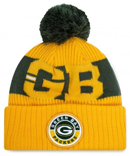 New Era - NFL Green Bay Packers 2020 Sport Knit Bobble Beanie - Gelb Vorderansicht