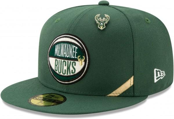 New Era - NBA Milwaukee Bucks 2019 Draft 59Fifty Fitted Cap - Grün Ansicht vorne schräg links