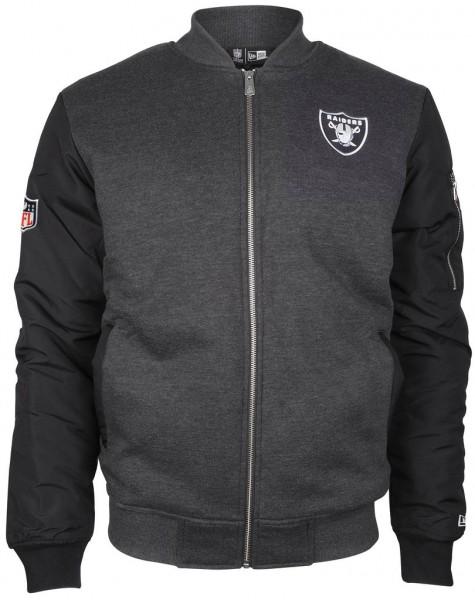 New Era - NFL Oakland Raiders Fleece Bomber Jacke - Grau-Schwarz