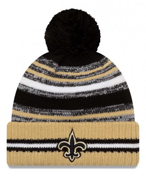 New Era - NFL New Orleans Saints 2021 Sport Knit Bobble Beanie - Mehrfarbig Vorderansicht