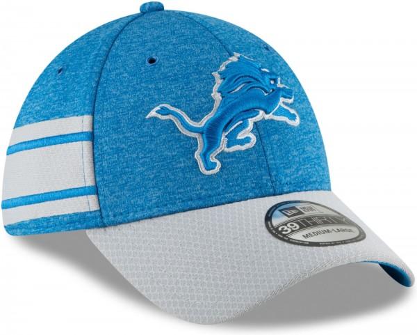 New Era - NFL Detroit Lions 2018 Sideline Home 39Thirty Stretch Cap - Blau schräg vorne rechts