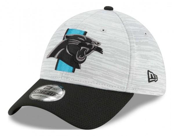 New Era - NFL Carolina Panthers 20212 Training 39Thirty Stretch Cap - Grau-Blau Ansicht vorne schräg links