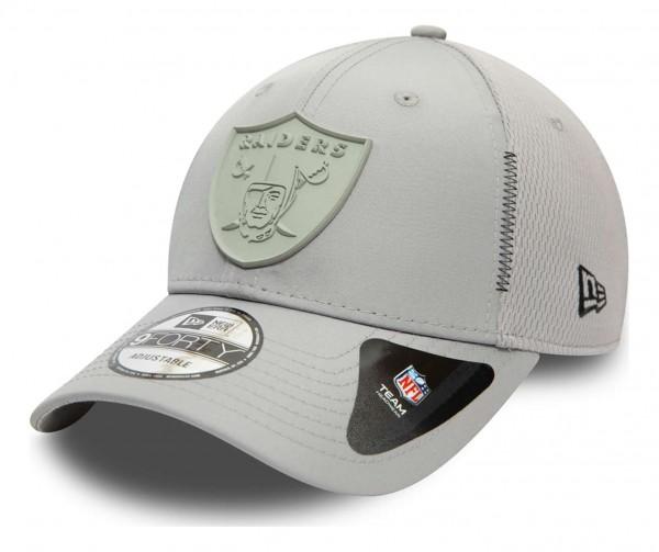 New Era - NFL Las Vegas Raiders Feather Mesh 9Forty Strapback Cap - Grau Ansicht vorne schräg links