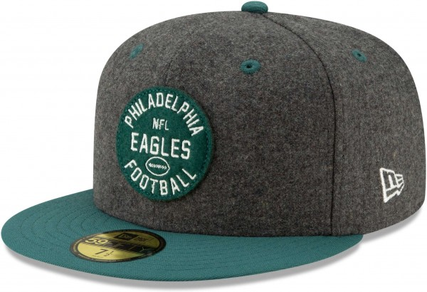 New Era - NFL Philadelphia Eagles On Field 2019 Sideline Home 59Fifty Fitted Cap - Schwarz Ansicht schräg links