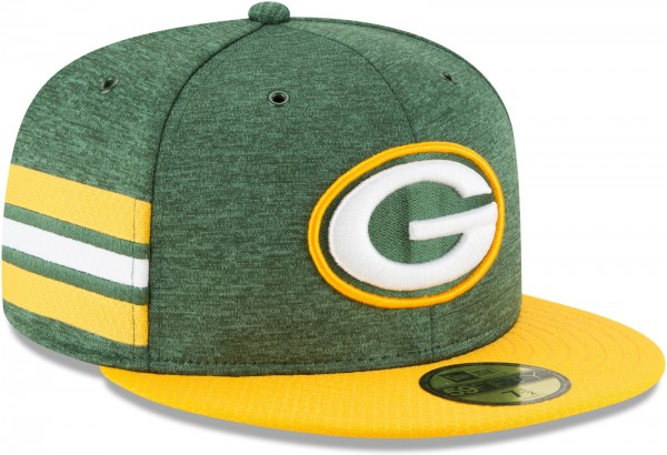 New Era - NFL Green Bay Packers 2018 Sideline Home 59Fifty Fitted Cap - Grün schräg vorne rechts