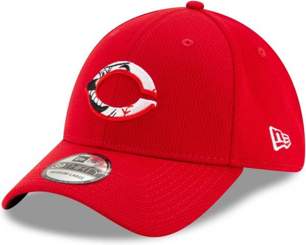 New Era - MLB Cincinnati Reds 2020 Batting Practice 39Thirty Stretch Cap - Rot Ansicht vorne links