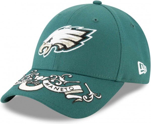 New Era - NFL Philadelphia Eagles Draft 2019 On-Stage 9Forty Strapback Cap - Petrol Grün Ansicht schräg links