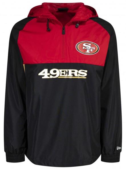 New Era - NFL San Francisco 49ers Colour Block Windbreaker Jacke - Schwarz-Rot Vorderansicht