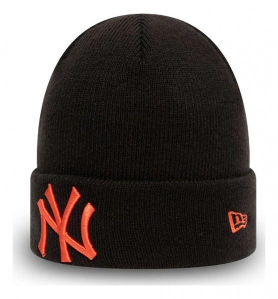 New Era - MLB New York Yankees League Essential Knit Kids Cuff Beanie - Schwarz Ansicht vorne schräg links