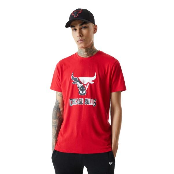 New Era - NBA Chicago Bulls Split Logo T-Shirt - Rot Vorderansicht