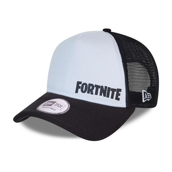 New Era - Fortnite Logo 9Forty A-Frame Trucker Snapback Cap - Schwarz Ansicht vorne schräg links