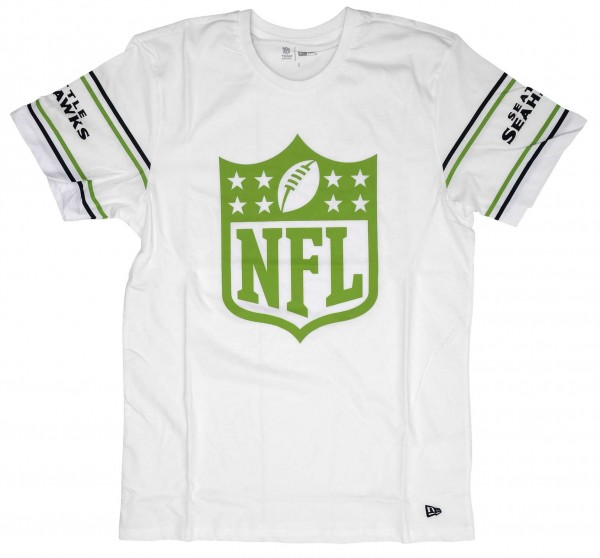 New Era - NFL Seattle Seahawks Badge T-Shirt - Weiß Vorderansicht