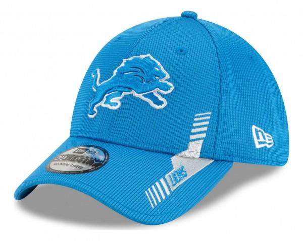 New Era - NFL Detroit Lions 2021 Sideline Home 39Thirty Stretch Cap - Blau Ansicht vorne schräg links