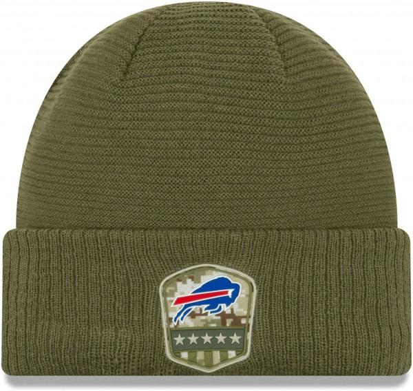 New Era - NFL Buffalo Bills On Field 2019 Salute to Service Knit Cuff Beanie - Olivgrün Vorderansicht