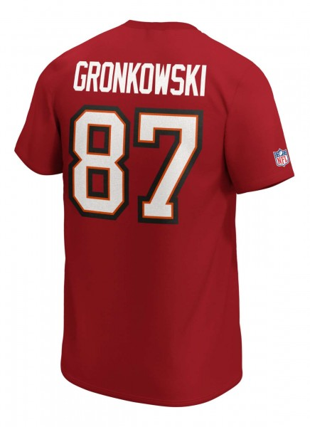 Fanatics - NFL Tampa Bay Buccaneers Iconic Name & Number Graphic Rob Gronkowski T-Shirt - Rot Rückansicht