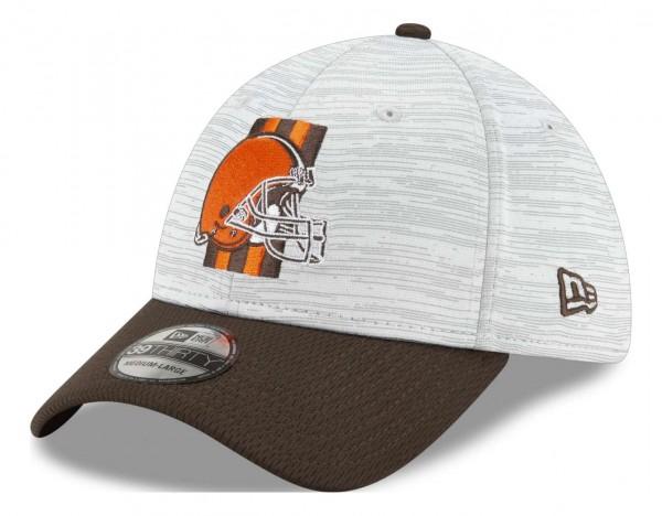 New Era - NFL Cleveland Browns 20212 Training 39Thirty Stretch Cap - Grau-Braun Ansicht vorne schräg links