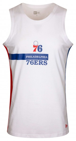 New Era - NBA Philadelphia 76ers Block Wordmark Tank Top - Weiß Vorderansicht