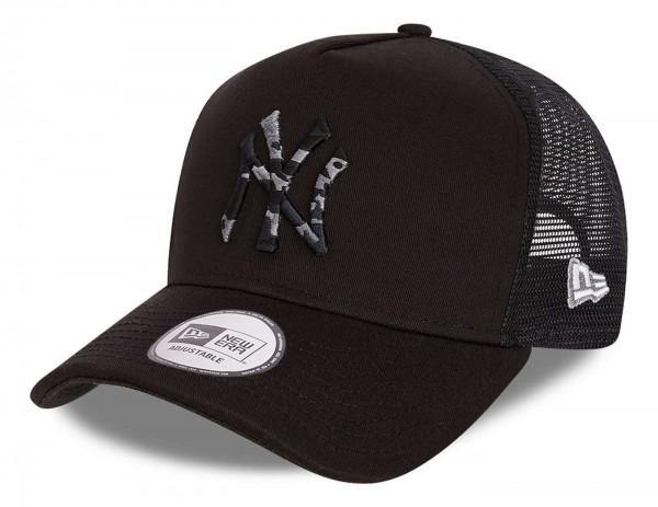 New Era - MLB New York Yankees Camo Infill Trucker Snapback Cap - Schwarz Ansicht vorne schräg links