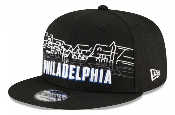 New Era - NBA Philadelphia 76ers 2020 City Series Official 9Fifty Snapback Cap - Schwarz Ansicht vorne schräg links