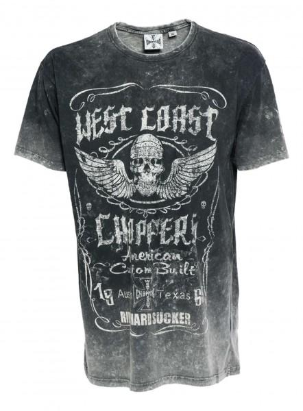 West Coast Choppers - WCC Ride Hard Sucker T-Shirt - Grau Vorderansicht