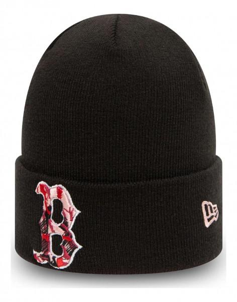 New Era - MLB Boston Red Sox Camo Infill Knit Cuff Beanie - Schwarz Ansicht vorne schräg links