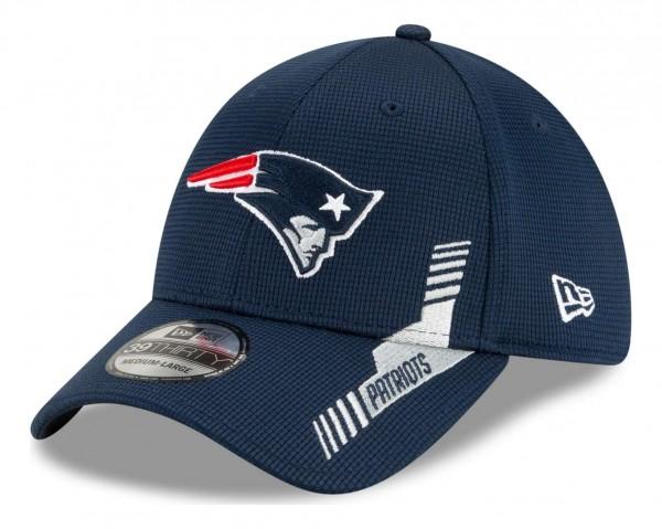New Era - NFL New England Patriots 2021 Sideline Home 39Thirty Stretch Cap - Blau Ansicht vorne schräg links