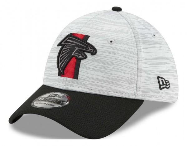 New Era - NFL Atlanta Falcons 20212 Training 39Thirty Stretch Cap - Grau-Schwarz Ansicht vorne schräg links