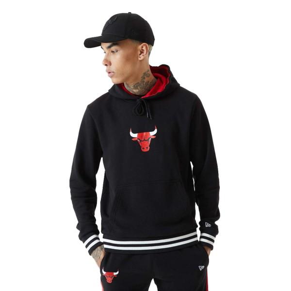 New Era - NBA Chicago Bulls Varsity Detail Hoodie - Schwarz Vorderansicht