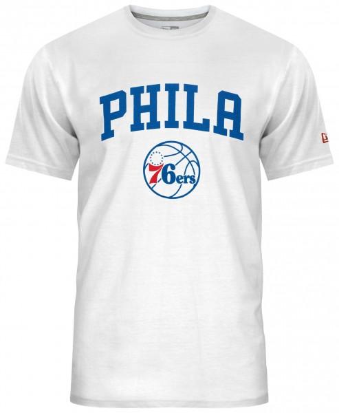 New Era - NBA Philadelphia 76ers Team Logo T-Shirt - Weiß Vorderansicht
