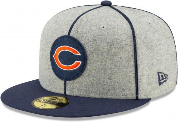 New Era - NFL Chicago Bears On Field 2019 Sideline Home 59Fifty Fitted Cap - Grau Ansicht schräg links