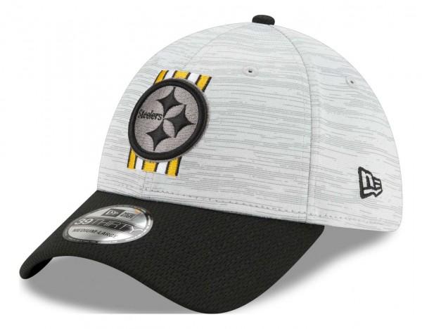 New Era - NFL Pittsburgh Steelers 20212 Training 39Thirty Stretch Cap - Grau-Schwarz Ansicht vorne schräg links