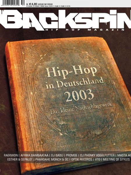 Auf dem Bild ist das Cover zu sehen der BACKSPIN Printausgabe Nummer 52