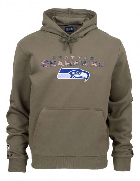 New Era - NFL Seattle Seahawks Camo Wordmark PO Hoodie - Olivgrün Vorderansicht