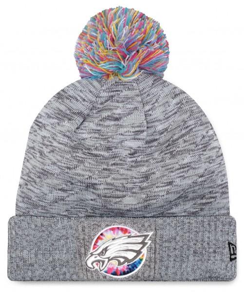 New Era - NFL Philadelphia Eagles 2020 Crucial Catch Knit Bobble Beanie - Grau Vorderansicht